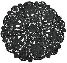 Round Jute Floor Rug - Natural Vertical Braided Flatweave Rug (120X120cm) Black