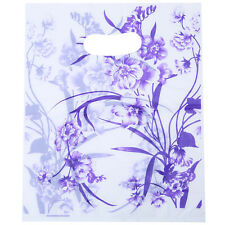 100pcs White Base Purple Color Orchid Pattern Plastic Carrier Shopping Bags C