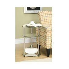 Round Glass Table Coffee End Side Display Accent Stand Living Room Sofa Shelves