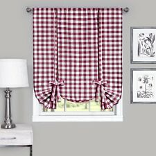 Country Chic Plaid Tie Up Window Curtain Shades - Assorted Colors