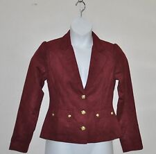 Faux Suede Notch Collar Button Front Blazer Size S Wine