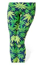 WomenSexy Leggings Green Leaves Color Slim Ankle Fit Small 4-61 Free Ankle Socks