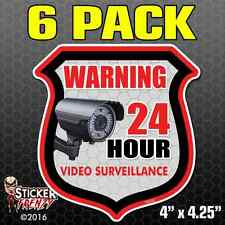 6 Pack WARNING 24 Hour VIDEO SURVEILLANCE Security Alarm Decal Stickers FS030