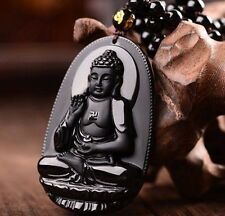 Fashion Black Hand-carved Natural Obsidian Buddha Amulet Pendant Free Necklace