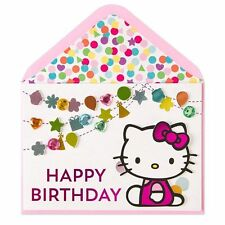 "Papyrus  Birthday Card ""Hello Kitty Gem Streamers"" super cute Hand made"