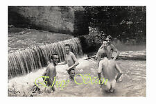 VINTAGE 1940's PHOTO NUDE SOLDIERS BATHE TOGETHER IN COOL STREAM GAY INTEREST 87