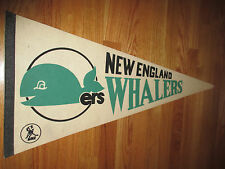 """Vintage 70s WHA NEW ENGLAND WHALERS 30"""" Pennant WHITE"""