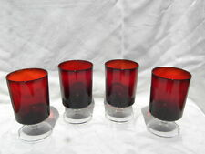 4 Vintage Ruby Red Glass Arcoroc France Footed Juice Tumblers 4 1/2""