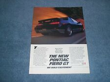 """1985 Pontiac Fiero GT Vintage Ad """"More Show. More Go. More Wing. More Zing."""""""