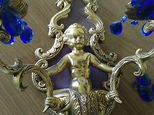 VINTAGE VICTORIAN BRASS PUTTI CHERUB STYLE BRASS CANDELABRA SCONCE BLUE CRYSTALS