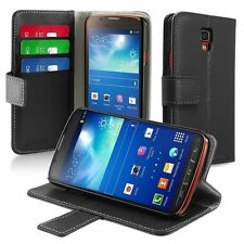 Black Leather Wallet Flip Stand Case Cover For Samsung Galaxy S4 Active I9295