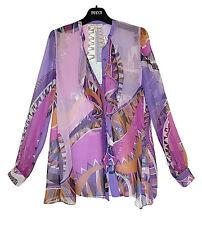 New Auth Stunning Emilio Pucci Iconic Niki Print Silk Chiffon Blouse