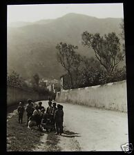 Glass Magic Lantern Slide CHILDREN IN MOUNTAIN VILLAGE C1890 POSSIBLY SICILY