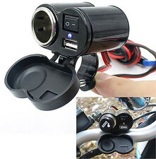 12V Car Motorcycle Bike Waterproof Cigarette Lighter USB Power Charging Socket