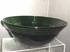 """VINTAGE CLEAR GLASS EMERALD GREEN SERVING/SALAD BOWL W/UPPER RINGS ** 10 1/4"""" X"""