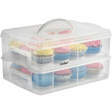 VonShef Cake Carrier Storage Cupcake 24 Snap and Stake Case Muffins Pastries