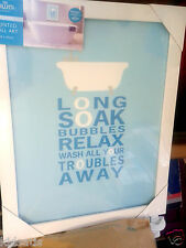 "Stunning Bath Time ""Wash Your Troubles Away"" Text White Modern Framed Art BNWT"