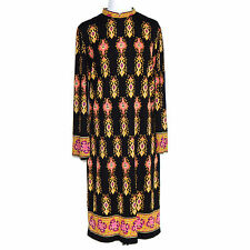 Mr. Dino 1960s Mod Psychedelic Black Pink Yellow Medallion Design Vintage Dress