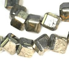 """6MM IRON PYRITE GEMSTONE DIAGONAL DRILL SQUARE CUBE 6X6MM LOOSE BEADS 16"""""""