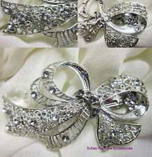 Bow Flower Antique Filigree Silver Crystal Barrette Bridal Hair Clip Diamante