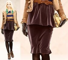 $1,295 RUNWAY Burberry Prorsum 2 4 36 Purple Velvet Peplum Skirt Women ITALY NEW