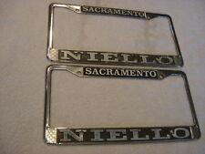 Pair of Niello VW Porsche Dealer License Plate Frames Sacramento, CA since 1955