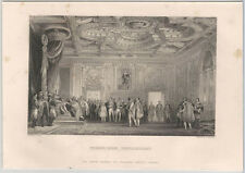 1870s Steel Engraving of Napoleon's Throne Room at Fontainbleau -France French