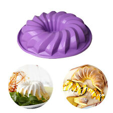 """Large 10"""" Silicone Bundt Swirl Ring Cake Bread Pastry Baking Tin Mold Mould Pan"""
