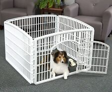 Pet Dog Pen Exercise Playpen Kennel Fence Puppy Crate White Folding Indoor Panel