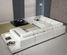 T35 White Bonded Leather Living Room Sectional Sofa