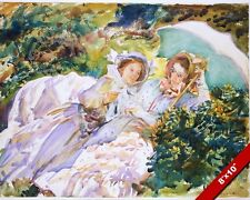 TWO YOUNG WOMEN RELAXING IN DRESSES WATER COLOR PAINTING ART REAL CANVAS PRINT