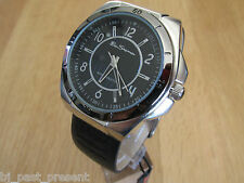 MENS BEN SHERMAN WATCH  ROUND BLACK  DIAL BLACK FAUX LEATHER STRAP  R938