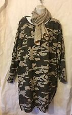 NEW ITALIAN LAGENLOOK CAMOUFLAGE JUMPER SIDE SLIT TOP DRESS TUNIC WITH SCARF 52""