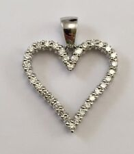 14k White Gold Diamond Heart Pendant, Necklace & Micropave AAA+quality + chain