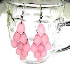 Pink acrylic drop chandelier earrings