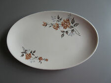 "Vintage : Oval China Serving Platter 12"" x 8"" Roses Patt.  Plate  Made in China"