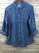 Old Navy Women's Blue Chambray Long Sleeve Button Front Floral Blouse L (B95)