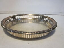 VINTAGE W & S BLACKINTON SILVER PLATE LATTICEWORK SIDE ROUND SERVING TRAY