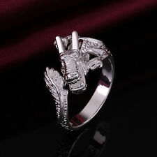 Cute Women Men Plated 925 Silver Dragon Open Ring Adjustable LF