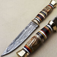 Rody Stan CUSTOM MADE DAMASCUS HUNTING KNIFE - BULL HORN - R-4132