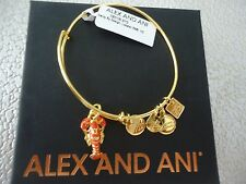 Alex and Ani LOBSTER Yellow Gold Finish Charm Bangle UNICEF New W/Tag Card & Box