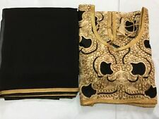 indian kutch SARI EMBROIDERY READYMADE CHOLI blouse pure black Georgette saree