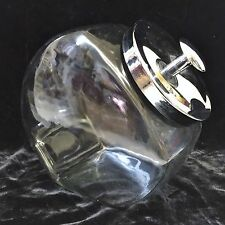 Clear Glass Slanted Country Store Candy Jar/Canister w/Metal Lid