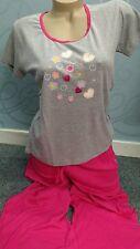 """Sweet Heart Gorgeous pink/grey pyjamas size  L ( 16-18 ) B.N.W.T leg """"33"""""""