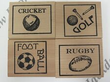 4 Wooden Raised Rubber Sports Theme Stamps Golf Rugby Football Cricket AM312