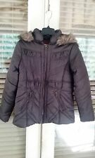 Ladies Puffer Faux Fur Hooded Coat DOLLHOUSE Size XL Seal Brown NWT