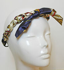 Elastic Braided Paisley Chain Hairband Bunny Headband Rockabilly Hair Scarf 50s