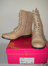 NIB Candies Faux Leather Lace Up Moto Booties Boots Shoes Natural Tan 10 M $79