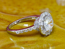 14K White Gold Round Diamond Engagement Ring Deco Halo Prong 1.50ct H-SI1 EGL US