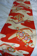 Red Mist Colourful Boat Furisode Vintage Japanese Kimono Silk Lining Fabric LAST